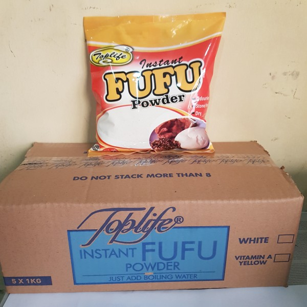 Toplife® Instant Fufu Powder, Odourless, 1kg X 5 in a Carton